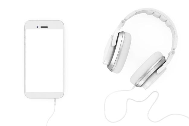 Наушники возле мобильного телефона с пустым сенсорным экраном для вашего дизайна на белом фоне. 3d-рендеринг.