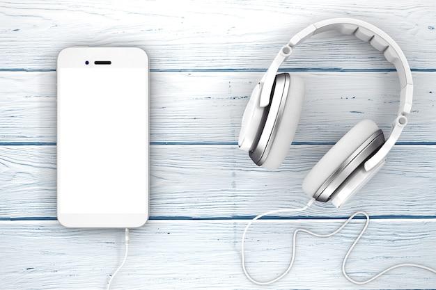 Наушники возле мобильного телефона с пустым сенсорным экраном для вашего дизайна на деревянном столе. 3d-рендеринг.