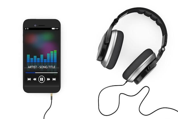 Наушники возле мобильного телефона с музыкальным плейлистом на белом фоне. 3d-рендеринг.