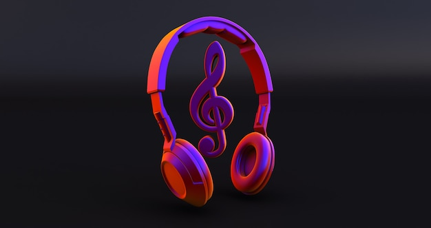 Headphones and notes - concept of a music . 3d render