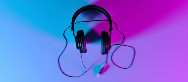 ネオンライト、3dイラストの黒い背景のクローズアップのヘッドフォン