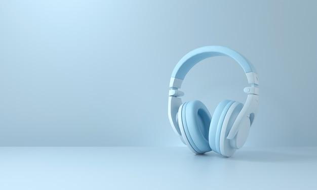 파란색 배경에 헤드폰입니다. 팟캐스트 개념입니다. 3d 렌더링.