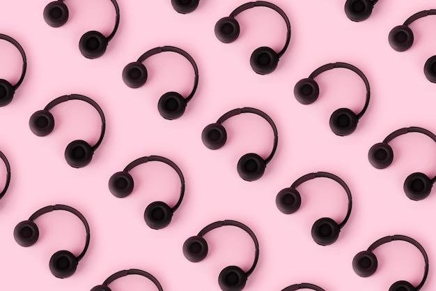 분홍색 배경, 상위 뷰, 음악 및 사운드 개념을 통해 헤드폰 패턴