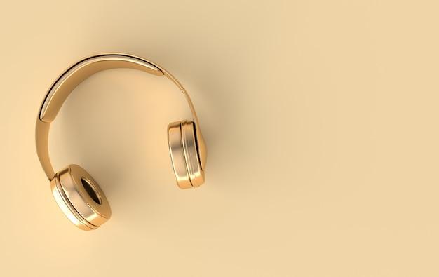 Наушники реалистичные 3d визуализации золотые беспроводные аудио наушники