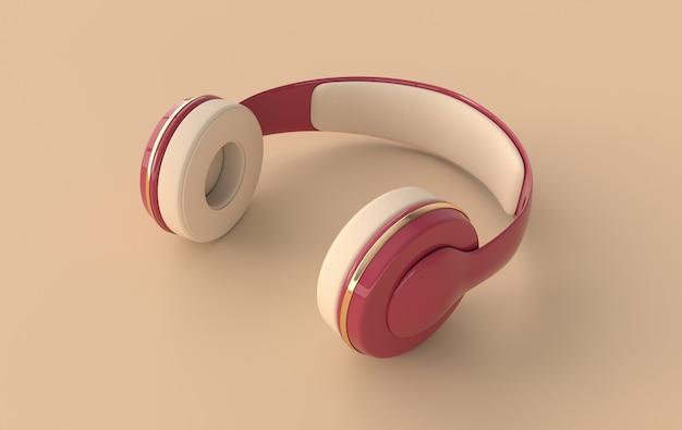 ヘッドフォンのリアルな3dレンダリング。赤と金色のワイヤレスオーディオイヤホンでミニマルな音楽愛好家