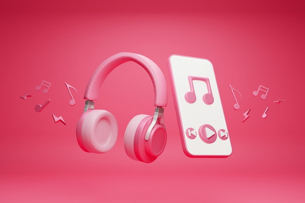 Headphones and smartphone, application music