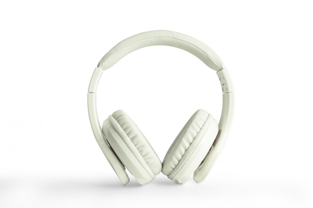 Headphones, white leather isolated on white background with clipping path
