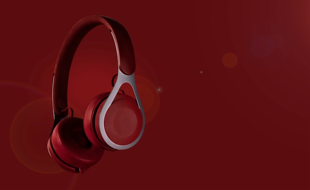 Headphones with colored background (multicolor tonal transitions). poster design with free text space