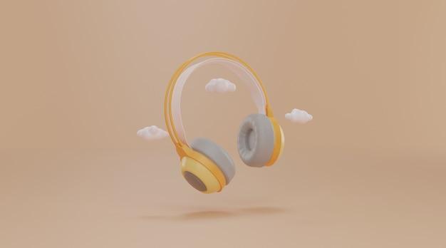 Headphones with copy space.