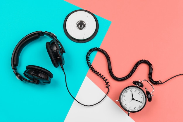 Headphones with cord, cd and alarm clock