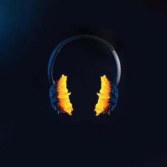 ひまわり付きのヘッドフォンが宙に浮いています。黒の背景に。夏と音楽をテーマにしたコンセプト
