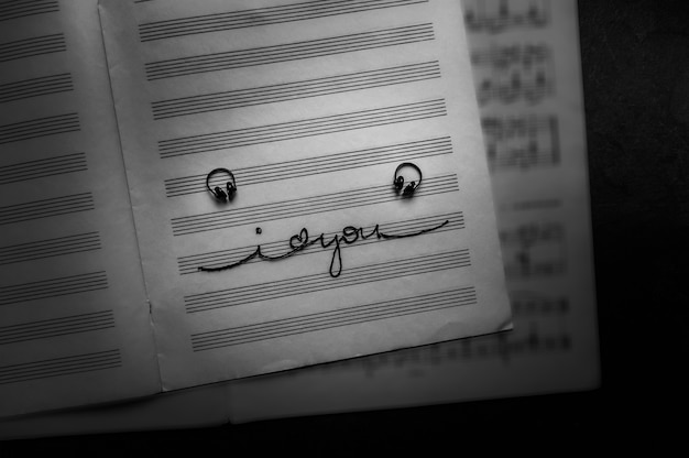 Наушники с надписью «я люблю тебя» на музыкальной записной книжке. место для текста, вид сверху, выборочный фокус.