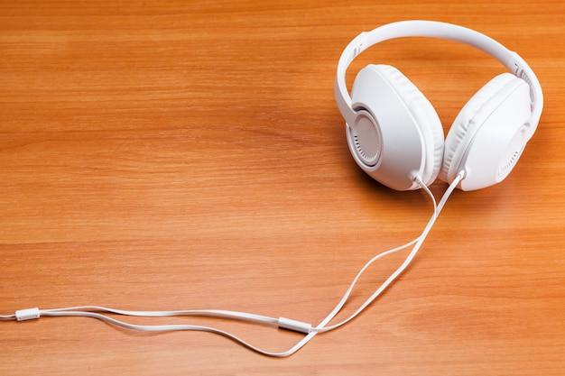 Headphones on wooden