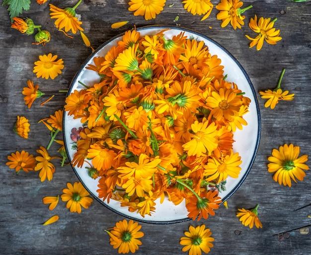 플랫레이를 준비하기 위해 접시에 오렌지 메리골드 꽃의 머리