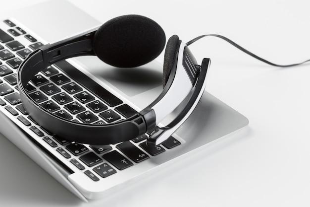 Headset on keyboard computer laptop
