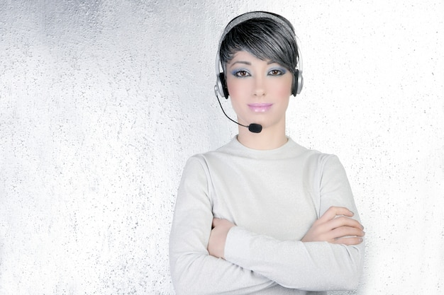Headset silver futuristic woman headphones phone