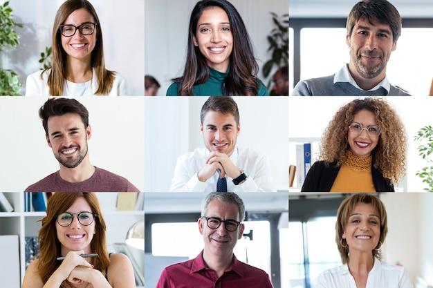 多様な従業員のヘッドショット画面アプリケーションビューには、最新のプラットフォームを使用した作業web会議があります。