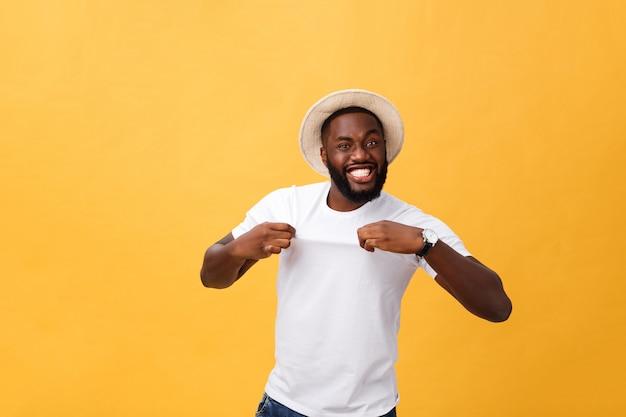 Headshot of surprised young dark-skinned man student wearing casual grey t-shirt staring at camera