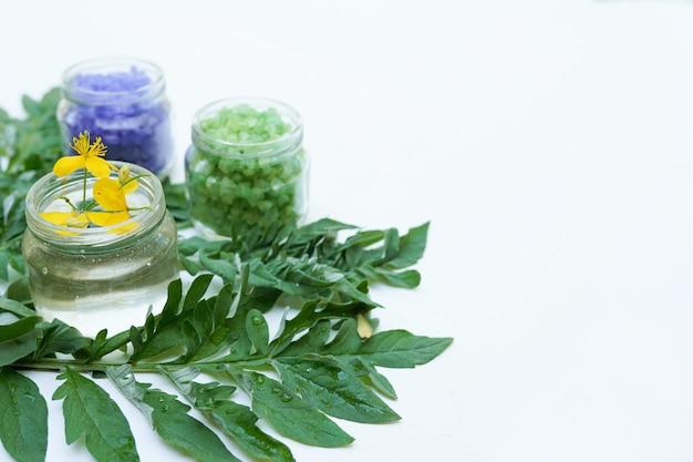 Целебные травы и лекарственные бутылки. концепция альтернативной медицины, белая стена с копией пространства