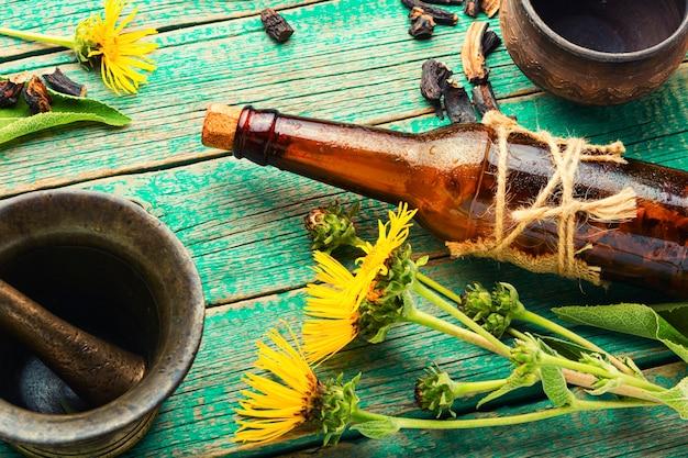 Healing tincture or mixture of elecampane roots. elecampane in herbal medicine. wild medicinal herbs