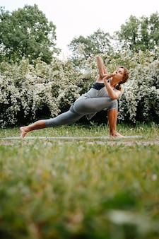 자연에서 요가 연습을 하 고 건강과 스포츠 개념 젊은 아름 다운 여자