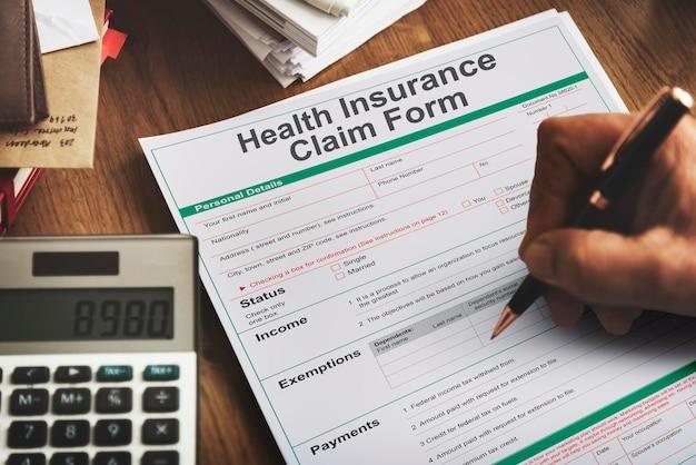 Concetto di modulo di richiesta di benefici per la salute