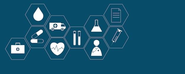 ヘルスケアと科学のアイコンパターン医療イノベーションの概念の背景