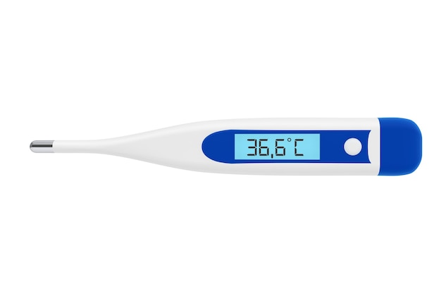 Концепция здравоохранения. медицинский цифровой термометр на белом фоне