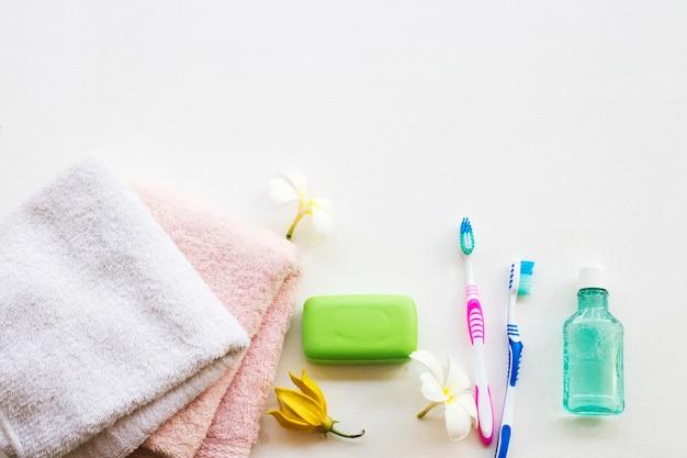 口腔セット洗浄のヘルスケアお風呂の準備