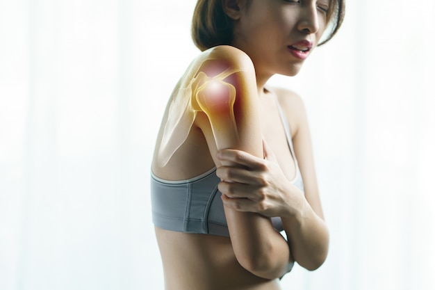 Health care and medical concept. closeup female's arm. arm pain and injury.