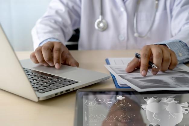 Health care writing prescription doctor working modern virtual screen interface network