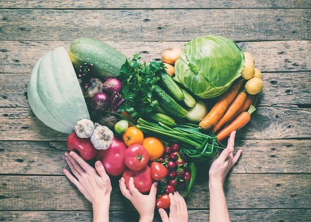 Health female hands assortment organic vegetables