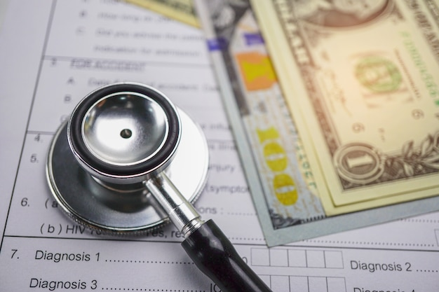 Health insurance accident claim form with coin money and car.