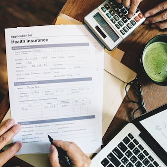 Health insurance application form concept