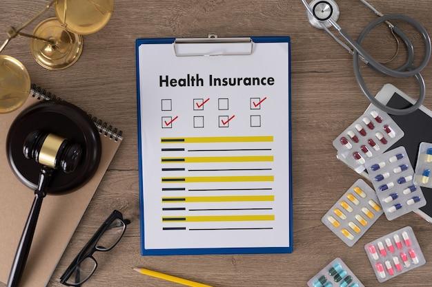 생명에 대한 건강 보험 청구 양식 및 의료 장비 건강 보험 개념