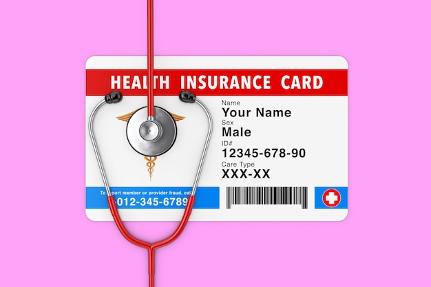 Health insurance medical card concept with stethoscope on a pink background. 3d rendering