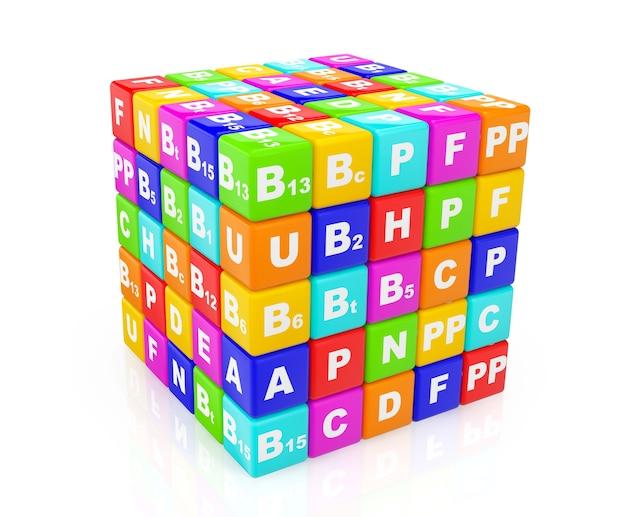 Концепция здоровой жизни. куб из витамина на белом фоне