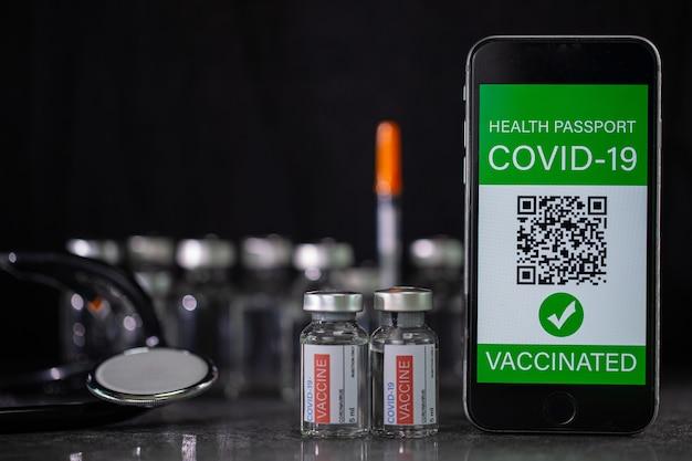 飛行機または海外での輸送を許可するためにcovid-19にワクチン接種された健康パスポート証明書。コピースペースで身分証明書のヘルスケアを文書化します。