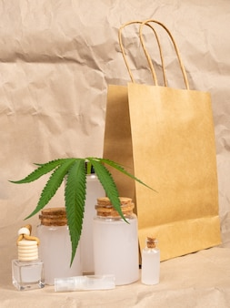 Health set of natural hemp cosmetics, marijuana skin care product.