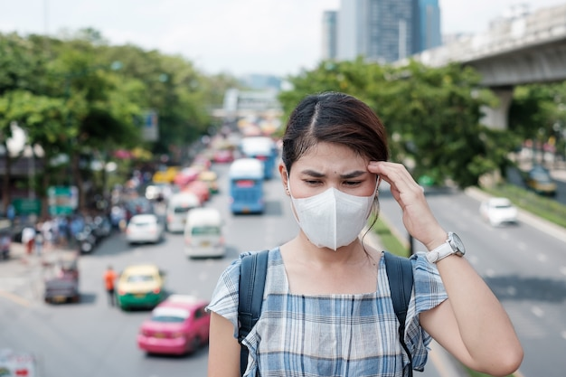 Healthcare and air pollution concept