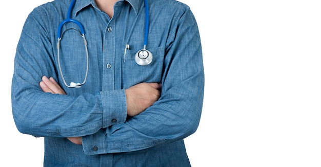 Healthcare concept. healthcare doctor with blue shirt and stethoscope on isolate background.