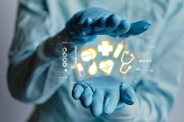 Healthcare concept icons abstract between doctor hands in medical gloves.