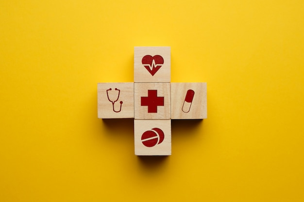Healthcare concept with medical icons.