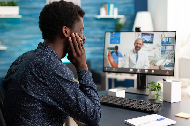 Healthcare consultation of african american guy
