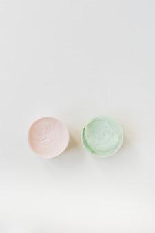 ヘルスケア、スパ、白地にクリーム色の美容コラージュ