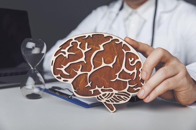 Healthcare and treatment concept. doctor is showing wooden brain in his office.