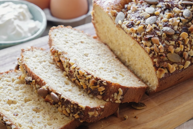 Healthy almond bread, keto food, ketogenic diet, paleo, low carb high fat, gluten free