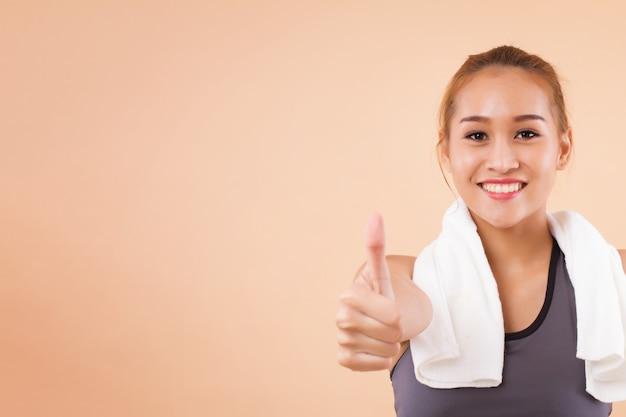 ストレッチ健康で幸せなアジアの女性