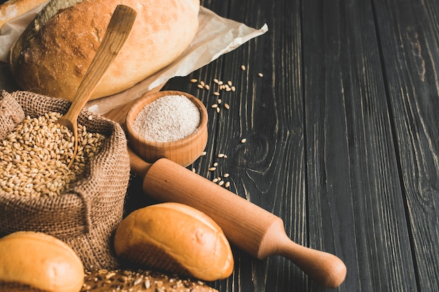 Healthy arranged bread loaves