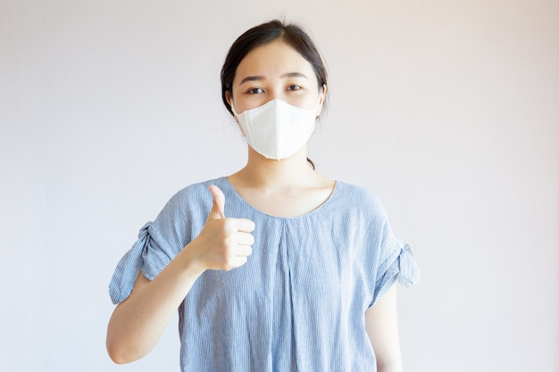 Healthy asian woman with mask